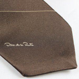 VTG 80s Oscar de la Renta Tie Brown Tan Signature